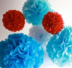 12 Tissue Paper Pom Poms- The Cat In The Hat Party Set. $35.00, via Etsy.