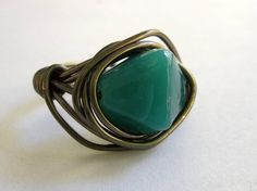 Wire Wrapped Ring Bohemian Ring Hippie Jewelry by GnarlyNotions, $9.50