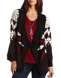 Chevron-Striped Cascade Cardigan Sweater: Medium | My Wish List ...
