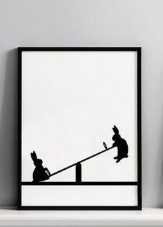 Seesawing Rabbit Screen Print. Sillouhette only requires one screen #elds #coolprints #eastlondondesignstore www.eastlondondesignstore.com
