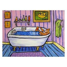 Basenji Taking a Bath Dog Art Print 8x10 by lulunjay on Etsy, $12.49