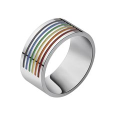 GORGEOUS TALE Outside Rainbow LGBT Ring For Men 316L Stainless Steel Wedding Ring 10MM Wide Gay Pride Trendy Party Jewelry 2017