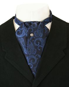 04a631603946 Wedding Mens Blue Silk Paisely Puff Tie | Formal | Bridal | Prom | Tuxedo