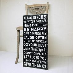 Family Rules Wood Sign - Say I Love You, Be Happy, Give Thanks. Black and White on Wood.