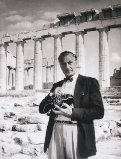 Screen legend Gary Cooper with his camera in hand in 1956, Acropolis,Athens, Greece