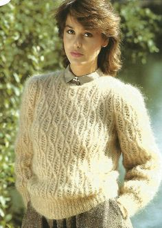 Knitting Pattern Ladies / Women's Cable Lace Pattern Mohair Sweater / Jumper Size 32-38in 81-97cm