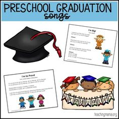 Five simple songs sung to familiar tunes that are great for preschool graduation programs. Preschool Programs, Preschool Songs, Preschool Curriculum, Preschool Learning, Preschool Ideas, Homeschooling, Preschool Writing, Kids Songs, Teaching Ideas