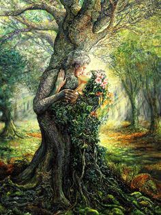Josephine Wall - The Dryad and the Tree Spirit - The only world that I can see is the one that exists between you and me.