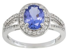Tanzanite 1.30ct With White Zircon .50ctw Sterling Silver Ring Color May Vary
