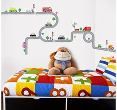 Decowall 10 Transports U0026 Roads Peel And Stick Nursery Kids Wall Decals  Stickers Part 57