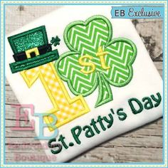 First St. Patty's Day Applique - This design is to be used on an embroidery machine. Instant Download