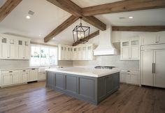 Kitchen Remodel Ideas Ivory Cabinets with Grey Island, Transitional, Kitchen Farmhouse Kitchen Cabinets, Modern Farmhouse Kitchens, Home Kitchens, Kitchen Modern, Rustic Cabinets, Grey Kitchens, Modern Rustic Homes, Colonial Kitchen, Farmhouse Sinks
