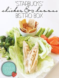 Starbucks Chicken & Hummus Bistro Box - Another perfect lunch box idea for adults on the go! Clean, healthy, and easy. Lunch Snacks, Lunches And Dinners, Lunch Recipes, Whole Food Recipes, Healthy Lunches For Work, Healthy Snacks, Healthy Recipes, Work Lunches, Skinny Recipes