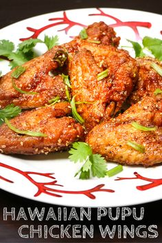 Hawaiian PUPU chicken Wings = These sticky, crunchy, garlicky, intensely flavored chicken wings come from a recipe I learned to make in my childhood in Hawaii. Cooking Chicken Wings, Chicken Wing Recipes, Baked Chicken, Chinese Fried Chicken Wings, Chicken Wing Rub, Chicken Wing Sauces, Chicken Breasts, Hawaiian Dishes, Hawaiian Food Recipes
