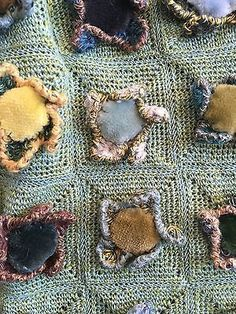 Beautiful Sophie Digard Handmade Scarf Green wool with Velvet Flowers
