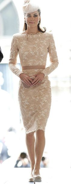 Catherine, Duchess of Cambridge wore this beautiful Sarah Burton for Alexander McQueen nude coloured lace dress for The Queen's Diamond Jubilee Thanksgiving Service.