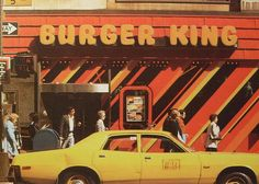 Photography / 1970s NYC vintage BURGER KING Yellow Taxi Cab NEW YORK CITY 5th Avenue