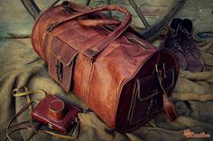 Leather Travel Bag 24 / Leather Duffle Bag / Leather by EpicLinen