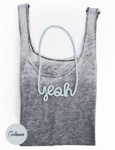 """Statementkette mit Typo """"Yeah"""" / eye catching statement necklace, typo by Goldmeise via DaWanda.com"""