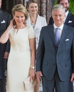 Belgian Queen Mathilde and Belgian King Philip behind them is Princess Stephanie, Hereditary Grand Duchess of Luxembourg and Prince Guilaume, Hereditary Grand Duke of Luxembourg in the Castle of Laeken on June 17, 2015 in Brussel, Belgium.