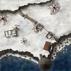 The last Living Airship map I will post here. This is the top level of the dungeon. A steel platform covers the three pillars and the airship itself is tethered to the winch. This was drawn for Rit...
