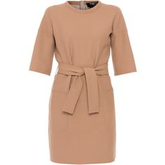 Paule Ka Camel Stretch Wool Jersey Dress With Belt ($730) ❤ liked on Polyvore featuring dresses, tan, tie belt, paule ka, tan dress, beige dress and paule ka dress