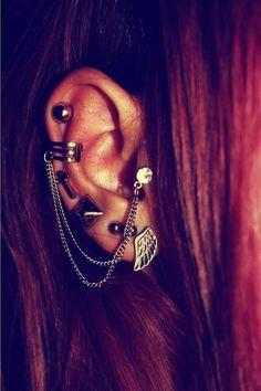 ear piercings + connected earrings <3