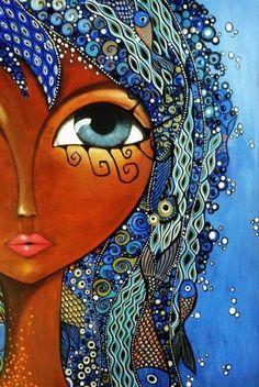 The visual result of romina lerda Arte Pop, Eye Art, Schmuck Design, Whimsical Art, Art Plastique, African Art, Black Art, Doodle Art, Mixed Media Art