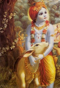 Lord Krishna with his pet calf