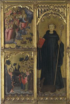 Miguel Alcañiz, Altarpiece Panel depicting St. Giles with Christ Triumphant over Satan and the Mission of the Apostles, c. 1420s