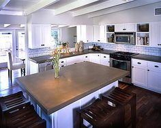 Supreme Kitchen Remodeling Choosing Your New Kitchen Countertops Ideas. Mind Blowing Kitchen Remodeling Choosing Your New Kitchen Countertops Ideas. Cement Countertops, Outdoor Kitchen Countertops, Kitchen Countertop Materials, Kitchen Counters, Kitchen Island, Countertop Overlay, Stained Concrete Countertops, Countertop Paint, White Counters
