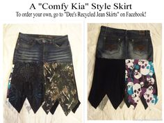 "The ""Comfy Kia"" Style skirt. Made from recycled jeans and t-shirts!"
