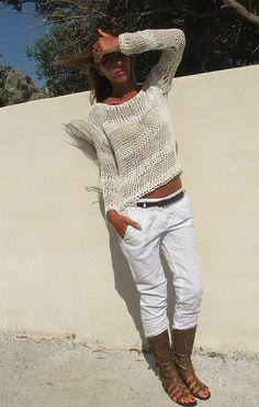white sweater White cotton mix loose knit stripe sweater
