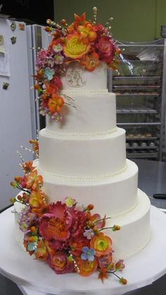Wedding Cake with Cascading Fall Flowers