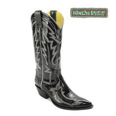 Black Patent Leather Rose Cowboy Boots, $400 - All-Leather Cowboy Boots - Handmade Cowboy Boots - Patent Leather Cowboy Boots