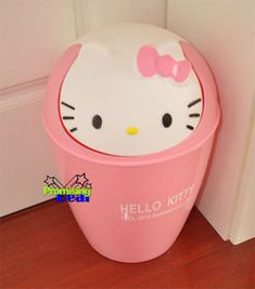 "Hello Kitty Trash Can Waste Garbage Bin 12"" Height Pink"