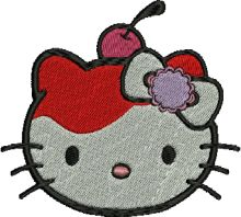 Cherry Hello Kitty Embroidery Design