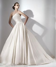 Ball Gown Strapless Unique Pleated Bodice Satin Wedding Dress-wb0064, $234.95