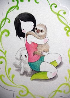 sloth by stasia burrington. oh my god. it's me and my tiffany and a sloth. <3 <3 <3