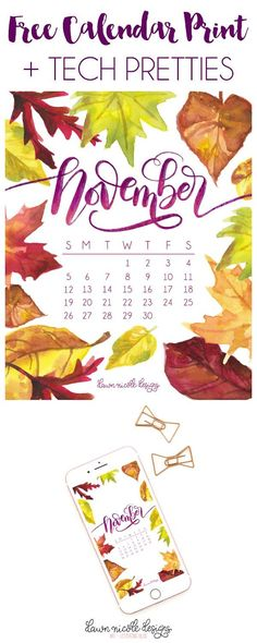 November 2017 Printable Calendar + Tech Pretties. One of my most popular posts each month are these free pretty printables and calendars for your tech!