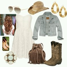 Dress with cowboy boots two steppin outfit for tonight make the dress black though