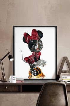 Minnie, Print, Kids Decor, Disney poster, Disney, Art, Minnie Illustration, Abstract, Wall art, Artwork, Comic poster, Gift, Home Decor.                                                                                                                                                                                 Más