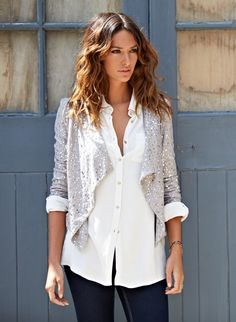 Sequined Blazer . Simple . Elegant . Style . White Shirt . Jeans - CHIK   www.iFASH.com.au