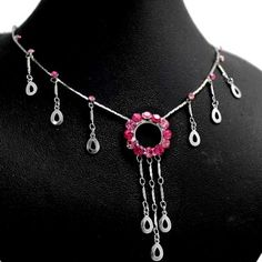 Rosy Circle Teardrop Crystal With Earring & Gifts Box Necklace Set NS1852A