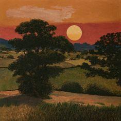 Quantock's Sunset 2018 61 cm sq oil on canvas Landscape Artwork, Contemporary Landscape, Acrylic Portrait Painting, Green Knight, London Art, Art Google, Ethereal, Sculpture Art, Oil On Canvas