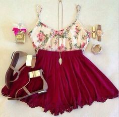 Cute floral skater outfit.