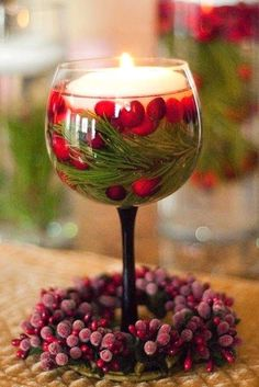 Wine Glass+cranberries+pine Twigs+floating Candle U003d Easy Peasy Centerpiece  By Lakeisha