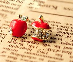 Apple and Core Earrings  - £1.50  per pair