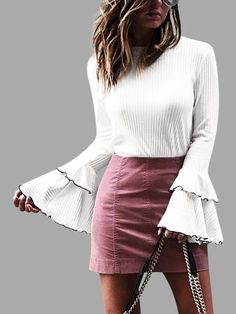 White Tiered Flared Sleeves Knitted Top