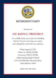 Military Retirement Party Invitation  Military Retirement Parties